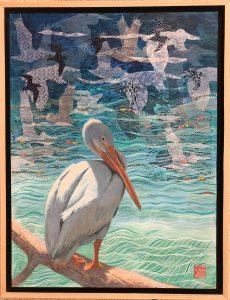 Pelican Day Dreams, mixed media by Krista Roche